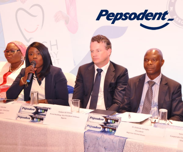 L - R: Outgoing Registrar, Dental Therapists Registration Board of Nigeria, Mrs Aramide Keshinro; Category Manager, Oral Care, Unilever Nigeria PLC, Bunmi Adeniba; Vice President, Brand Building, Unilever Nigeria Plc, Robbert-de Vreede; President, Nigerian Dental Association Of Nigeria, Dr Bode Ijarogbe; during Pepsodent World Oral Health Day Media Briefing in Partnership with Nigerian Dental Association at the Protea Hotel, Ikeja on Thursday