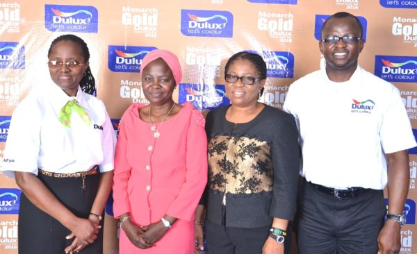 L-R, The Managing Director, CAP Plc., Mrs. Omolara Elemide; The Chairman, Nigerian Institute of Building (NIOB), Mrs. Adenike Said; The Chairman, Nigerian Institute of Quantity Surveyors (NIQS), Mrs. Adenike Ayanda and The Marketing Manager, CAP Plc., Mr. Dominic Oladeji during the Special Briefing of Professional Bodies on the 2016 Dulux Colour of the Year (Monarch Gold) held at the CAP Plc. office in Ikeja, Lagos recently