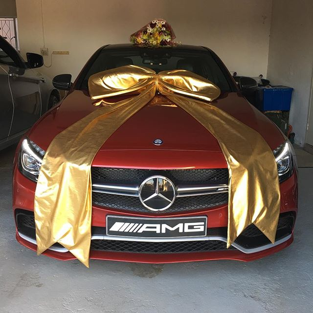 South african actress walks into her home to find this for Mercedes benz gifts