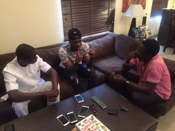 THENETNG publisher Ayeni Adekunle & Chief correspondent Dayo Showemimo at Peter Okoye's Home