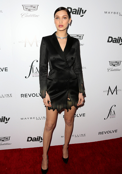 "WEST HOLLYWOOD, CA - MARCH 20: Bella Hadid attends the Daily Front Row ""Fashion Los Angeles Awards"" at Sunset Tower Hotel on March 20, 2016 in West Hollywood, California."