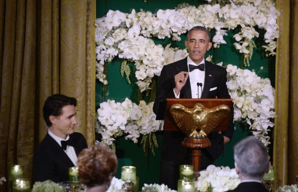WASHINGTON, DC - MARCH 10:  President Barack Obama and  Prime Minister Justin Trudeau of Canada exchange toasts during a State Dinner at the White House March 10, 2016 in Washington, D.C. Prime Minister Trudeau is on an official visit to Washington. (Photo by Olivier Douliery-Pool/Getty Images)