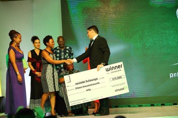 Winner of Etisalat Prize for Litearature 2014, NoViolet Bulawayo with CEO, Etisalat Nigeria