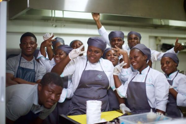 Chef Ruby Paintsil and her kitchen team