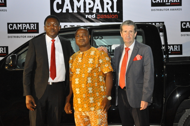 BML Head of Marketing, Abayomi Ajao, 1st Runner Up, Jinda C.K and BML Managing Director, Paul WIlson at the Campari Distributor Awards which held yesterday, Friday, APril 8, 2016 at the Classique Events Centre, Ikeja