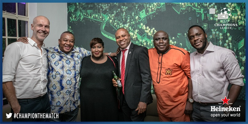 Arjan Pomper, Olisa Adibua, Dami Elebe, Edem Vindah, Gbenga Adeyinka and Obabiyi Fagade at Heineken House Lagos