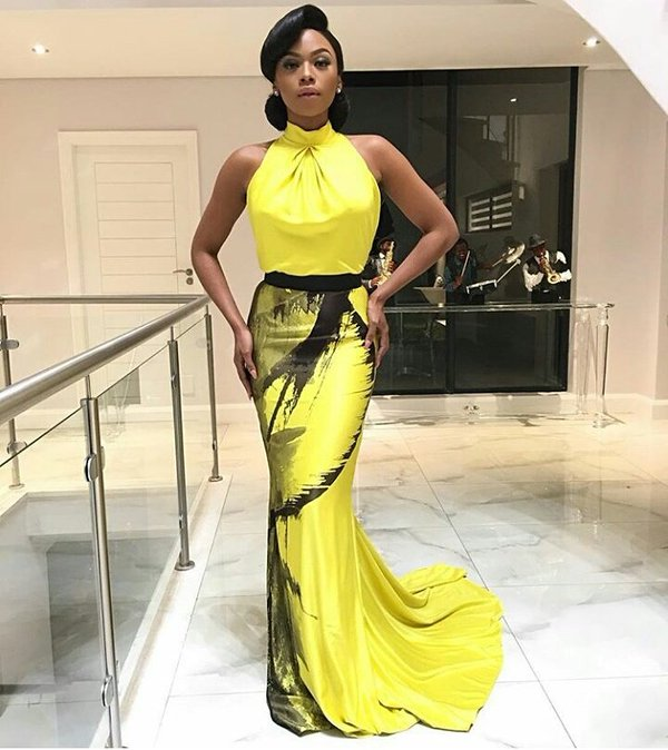 Bonang Matheba in a yellow Gert-Johan Coetzee dress