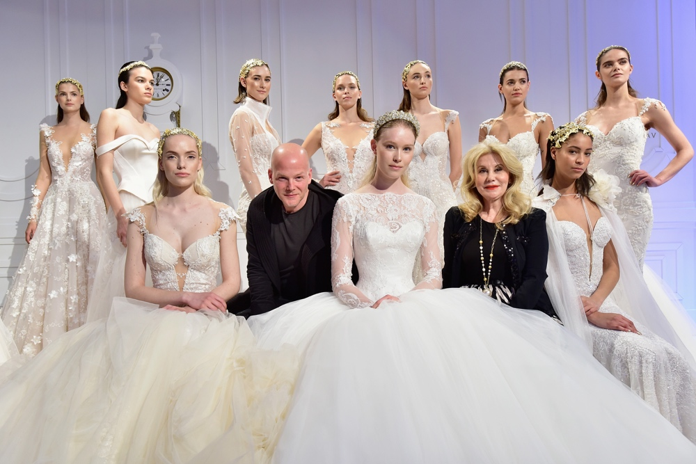 Sharon Sever, Designer Galia Lahav and models pose during the Galia Lahav Bridal Fashion Week Spring/Summer 2017 presentation on April 14, 2016 in New York City. (Photo by Eugene Gologursky/Getty Images for Galia Lahav)