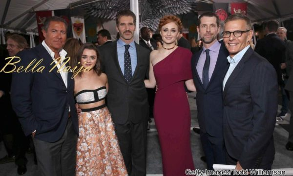 HBO CEO Richard Plepler, Maisie Williams, Creator/Executive Producer David Benioff, Sophie Turner, Creator/Executive Producer Dan Weiss and HBO Programming President Michael Lombardo