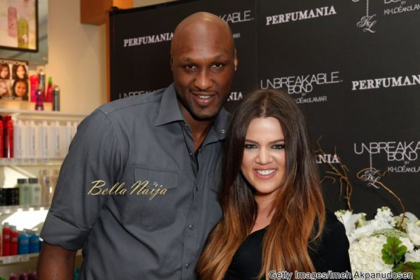 Professional basketball player Lamar Odom and TV personality Khloe Kardashian make an appearance to promote their fragrance, 'Unbreakable Bond,' at Perfumania on June 7, 2012 in Orange, California. (Photo by Imeh Akpanudosen/Getty Images)