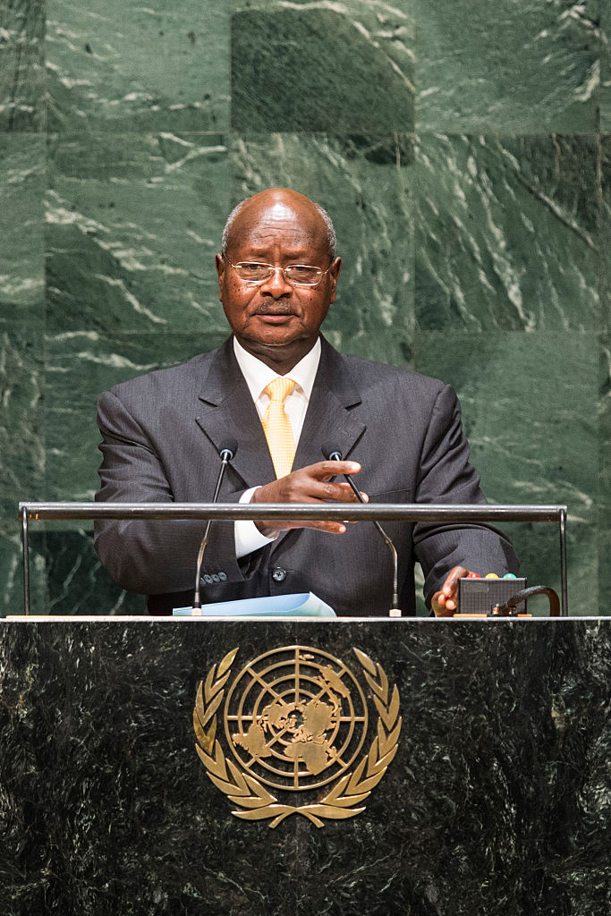 NEW YORK, NY - SEPTEMBER 24: President of Uganda Yoweri Museveni speaks at the 69th United Nations General Assembly at United Nations Headquarters on September 24, 2014 in New York City. The annual event brings political leaders from around the globe together to report on issues meet and look for solutions. This year's General Assembly has highlighted the problem of global warming and how countries need to strive to reduce greenhouse gas emissions. (Photo by Andrew Burton/Getty Images)