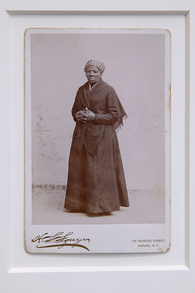 WASHINGTON, DC - JUNE 17: A recently-found photograph of escaped slave, abolitionist and Union spy Harriet Tubman that was acquired by the Smithsonian is displayed before a hearing of the House Administration Committee in the Longworth House Office Building on Capitol Hill June 17, 2015 in Washington, DC. Auburn, New York, photographer H. Seymour Squyer made the photograph around 1885. Born into slavery, Tubman used a network of antislavery activists and safe houses known at the Underground Railroad to help lead about 13 missions to rescue about 70 enslaved family and friends. (Photo by Chip Somodevilla/Getty Images)
