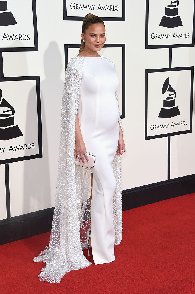 LOS ANGELES, CA - FEBRUARY 15: Model Chrissy Teigen attends The 58th GRAMMY Awards at Staples Center on February 15, 2016 in Los Angeles, California. (Photo by Jason Merritt/Getty Images)