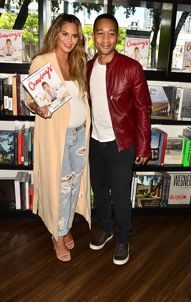 "MIAMI, FL - FEBRUARY 26: Chrissy Teigen and John Legend attend a book signing for ""Cravings"" at Books and Books At Adrienne Arsht Center on February 26, 2016 in Miami, Florida. (Photo by Johnny Louis/Getty Images)"