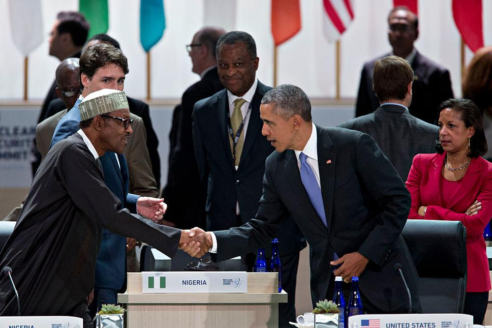 WASHINGTON, DC - APRIL 1:  (AFP OUT) U.S. President Barack Obama (R) shakes hands with Muhammadu Buhari, Nigeria's president, during a closing session at the Nuclear Security Summit April 1, 2016 in Washington, D.C. After a spate of terrorist attacks from Europe to Africa, Obama is rallying international support during the summit for an effort to keep Islamic State and similar groups from obtaining nuclear material and other weapons of mass destruction.  (Photo By Andrew Harrer/Pool/Getty Images)
