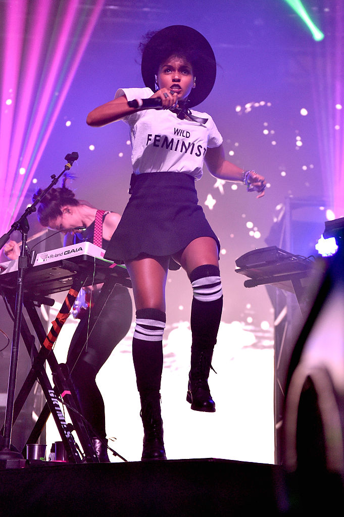 INDIO, CA - APRIL 16: Recording artist Janelle Monae performs onstage with singer Grimes during day 2 of the 2016 Coachella Valley Music & Arts Festival Weekend 1 at the Empire Polo Club on April 16, 2016 in Indio, California. (Photo by Mike Windle/Getty Images for Coachella)
