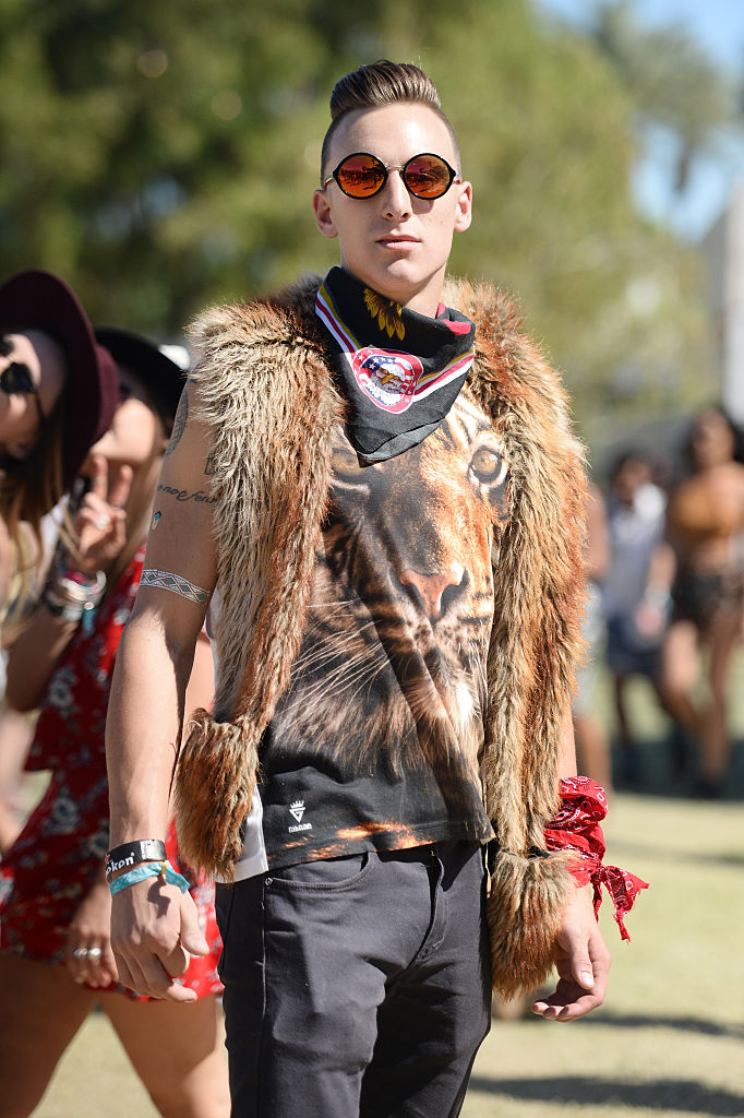 INDIO, CA - APRIL 17: Music fan attends day 3 of the 2016 Coachella Valley Music & Arts Festival at the Empire Polo Club on April 17, 2016 in Indio, California. (Photo by Matt Winkelmeyer/Getty Images for Coachella)