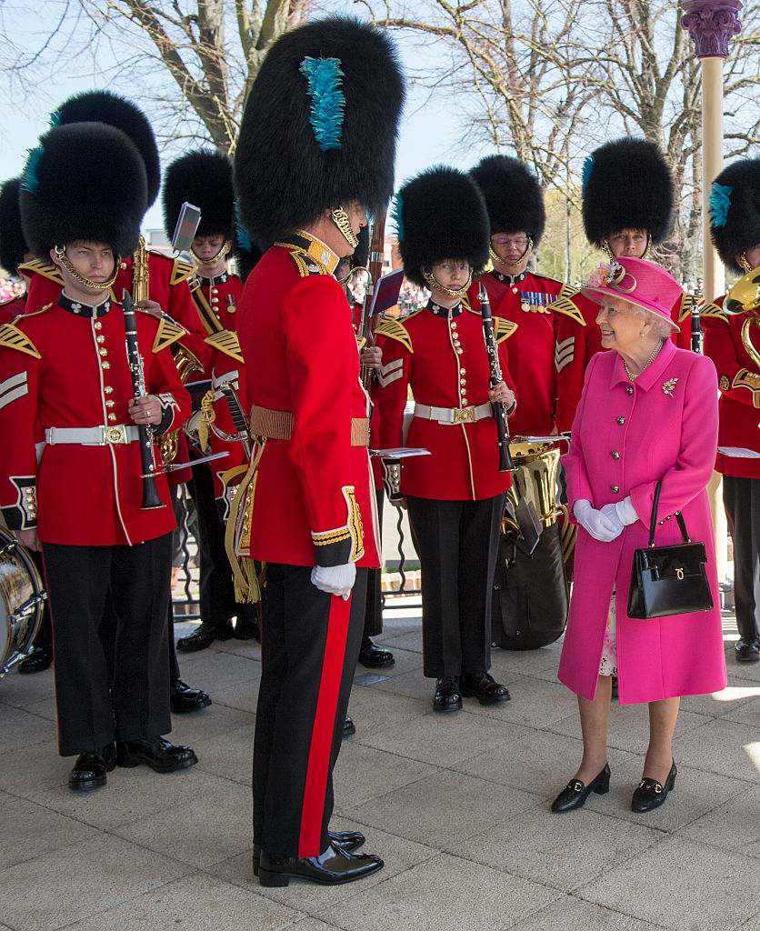 WINDSOR, ENGLAND - APRIL 20: Queen Elizabeth II arrives to officially open the Alexandra bandstand on April 20, 2016 in Windsor, England. Her Majesty viewed an exhibition about the Bandstand and met children from the six schools involved in designing the bandstand's commemorative plaques. The Queen and Duke of Edinburgh are carrying out engagements in Windsor ahead of the Queen's 90th Birthday tommorow. (Photo by Arthur Edwards - WPA Pool/Getty Images)