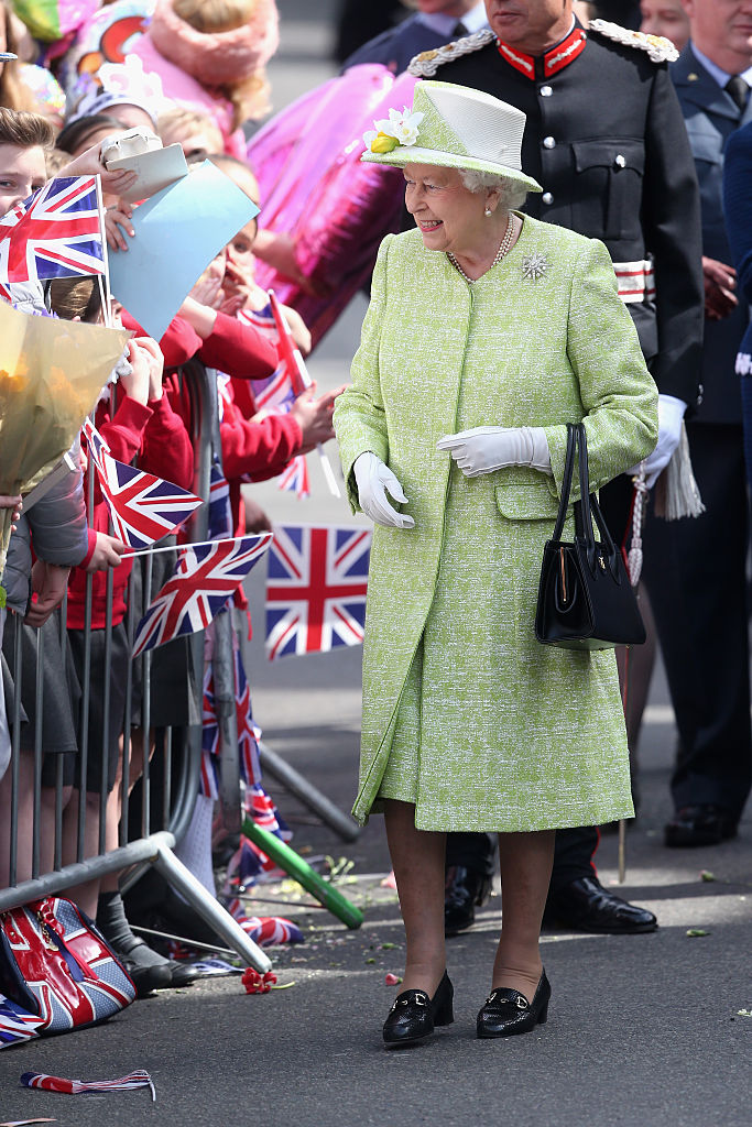 WINDSOR, ENGLAND - APRIL 21: Queen Elizabeth II meets the public on her 90th Birthday Walkabout on April 21, 2016 in Windsor, England. Today is Queen Elizabeth II's 90th Birthday. The Queen and Duke of Edinburgh will be carrying out engagements in Windsor. (Photo by Chris Jackson/Getty Images)