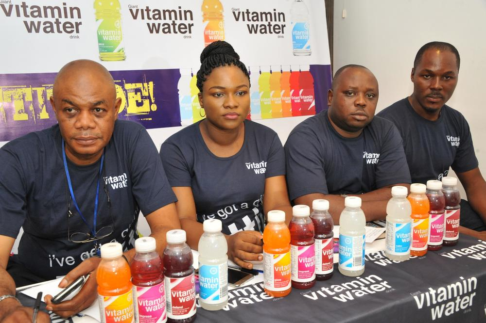 Giant Beverages Limited on Wednesday introduced Giant Vitamin Water into the Nigerian market. L – R Eke Leonard, Regional Sales Manager South-South/ East, Bose Ogunyemi, Marketing Manager, Emmanuel Akpah, Regional Sales Manager Lagos/South-West and Maurice Ibie, Brand Activation Manager, all of Giant Beverages Limited at the event