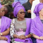 Wife of Lagos State Governor, Bolanle Ambode (middle) flanked by Wife of Edo State Governor, Iara Oshiomole (right) and Wife of Delta State Governor, Dame Edith Okowa