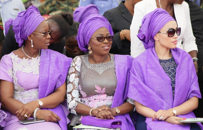 Wife of Lagos State Governor, Bolanle Ambode (middle) flanked by Wife of Edo State Governor, Iara Oshiomhole (right) and Wife of Delta State Governor, Dame Edith Okowa
