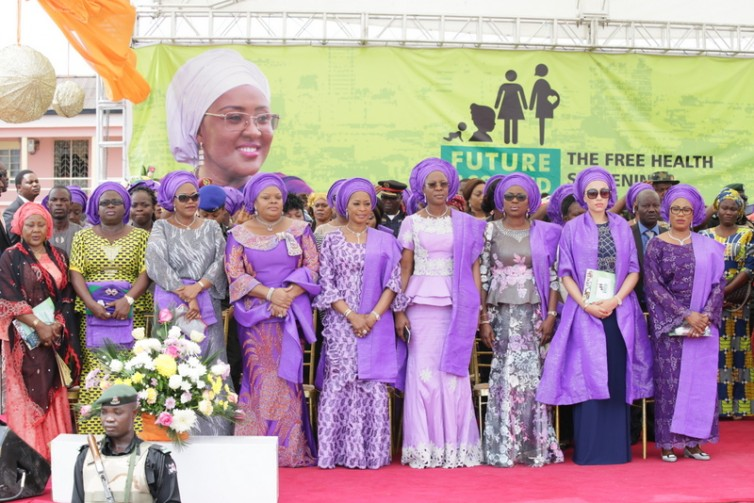 R-L: Wife of Lagos State Governor, Bolanle Ambode (3rd right); Wife of Osun State Governor, Alhaja Sherifat Aregbesola; Wife of Edo State Governor, Iara Oshiomhole; Wife of Delta State Governor, Dame Edith Okowa; Wife of Ogun State Governor, Olufunso Amosun; Wife of Imo State Governor, Nkechi Okorocha; Wife of Enugu State Governor, Monica Ugwuanyi; Wife of Abia State Governor, Nkechi Ikeapzu and Representative, Wife of Kwara State Governor, Dr. Asiat Ayinke Saka