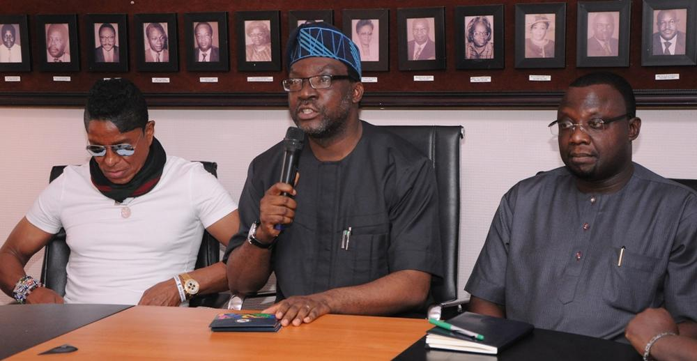 Commissioner for Information & Strategy, Steve Ayorinde (middle); Jermaine Jackson of the defunct Jackson 5 (left) and Special Adviser, Lagos Global, Prof. Ademola Abass (right) during Jackson's visit to the Lagos State Government, at the Secretariat, Alausa, Ikeja, on Friday, April 29, 2016.