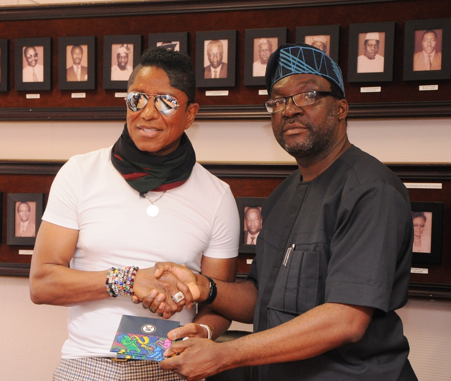 Commissioner for Information & Strategy, Steve Ayorinde (right); with Jermaine Jackson during Jackson's visit to the Lagos State Government, at the Secretariat, Alausa, Ikeja, on Friday, April 29, 2016.