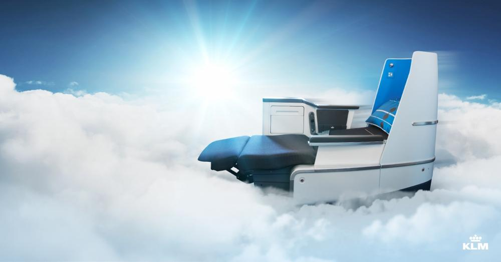 KLM New Full Flat bed in the Business Class Cabin