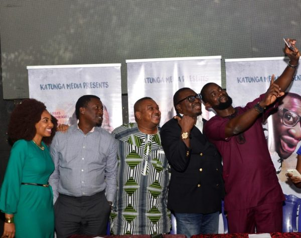 L-R. Betty Abang, MD, Katunga Media Limited      Joseph Edgar, Author & Executive Producer, Loud Whispers      Olisa Adibua, Executive Producer, Loud Whispers      AliBaBa, Lead Thespian, Loud Whispers      William Benson, Director, Loud Whispers