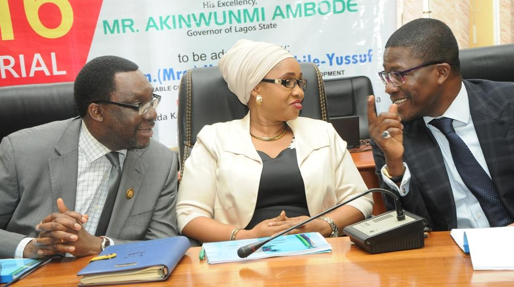 Commissioner for Youth & Social Development, Pharm. (Mrs.) Uzamat Akinbile-Yusuf (middle), with Commissioner for Information & Strategy, Mr. Steve Ayorinde (left) and Permanent Secretary, Ministry of Youth & Social Development Mr. Hakeem Muri-Okunola (right) during the Y2016 Ministerial Press Briefing to commemorate the First Year in Office of Governor Akinwunmi Ambode, at the Bagauda Kaltho Press Centre, the Secretariat, Alausa, Ikeja, on Tuesday, April 26, 2016.
