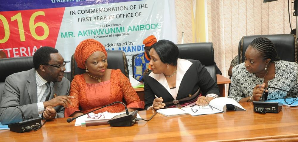 Commissioner for Information & Strategy, Mr. Steve Ayorinde (left); Commissioner for Women Affairs & Poverty Alleviation, Hon. (Mrs.) Lola Akande; Permanent Secretary, Ministry of Women Affairs & Poverty Alleviation, Mrs. Nike Odunwole and Director, Public Affairs Office, Ministry of Information & Strategy, Mrs. Toro Oladapo during the Y2016 Ministerial Press Briefing to commemorate the First Year in Office of Governor Akinwunmi Ambode, at the Bagauda Kaltho Press Centre, the Secretariat, Alausa, Ikeja, on Tuesday, April 26, 2016.