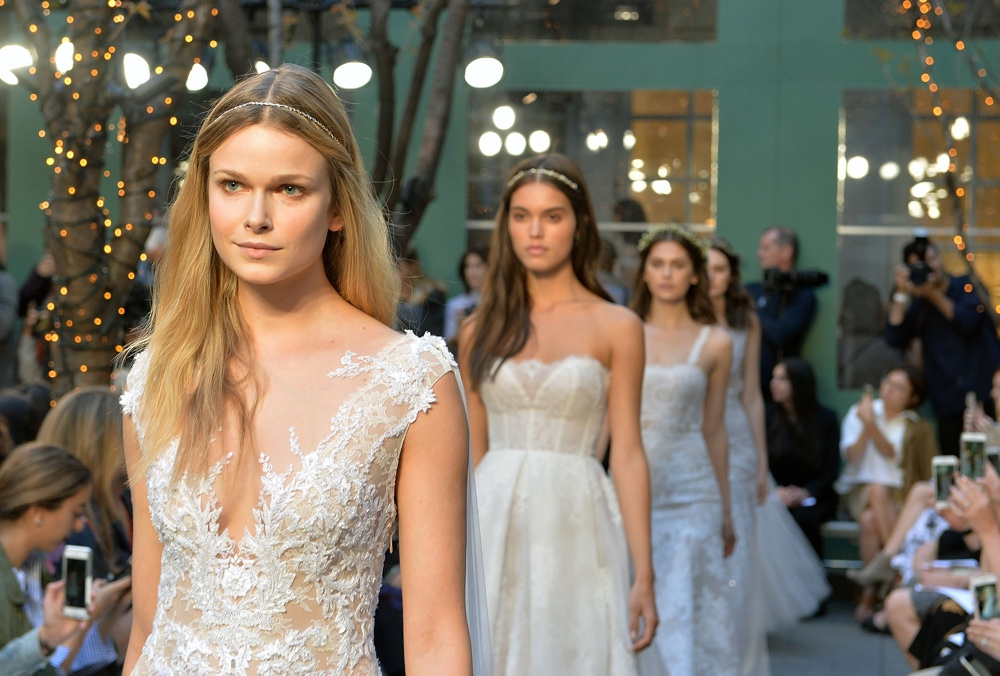 NEW YORK, NY - APRIL 15: Models walk the runway at Monique Lhuillier Bridal Spring/Summer 2017 Fashion Show at Laduree Soho on April 15, 2016 in New York City. (Photo by Slaven Vlasic/Getty Images)