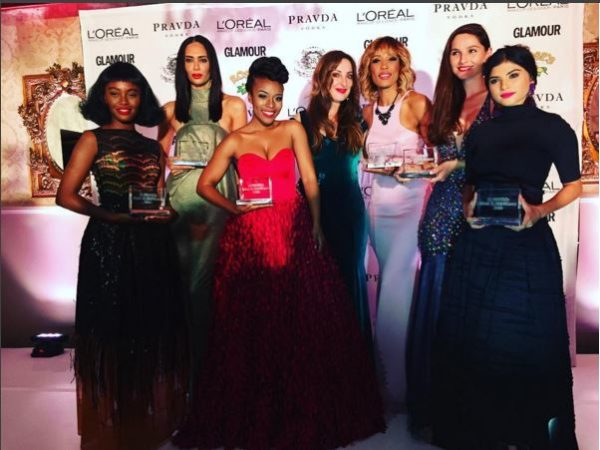 Winners of the Glamour's Most Glamourous Women Awards for 2016 - Tony Gum, Tatum Keshwar, Noni Gasa, Aisha Baker, Emma Jane Menteath, Gail Mabalane, Leigh-Anne Williams, Brownyn Day, Nomzamo Mbatha and Vanessa Carreira-Coutroulis