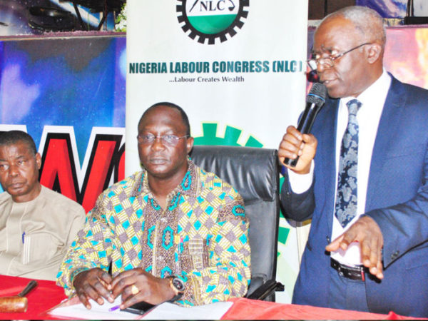 LABOUR 01 & 1, L-R: General secretary, Nigeria Labour Congress(NLC), Dr. Peter Ozo-eson; National President (NLC), Comrade, Ayuba Wabara and human right lawyer, Femi Fanana (SAN) during the opening session of the Central Working Committee (CWC) of Nigeria Labour Congress held in Abuja. Photo: ENOCK REUBEN