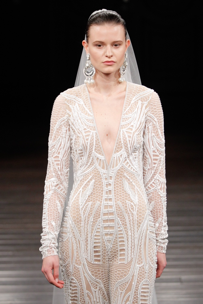 NEW YORK, NY - APRIL 16: A model walks the runway at the Naeem Khan Spring/Summer 2017 Bridal Collection on April 16, 2016 in New York City. (Photo by JP Yim/Getty Images)