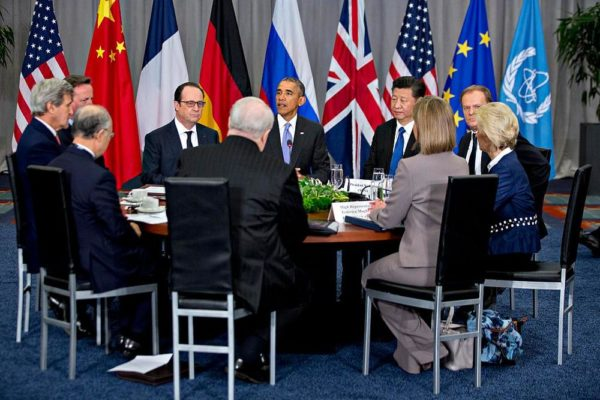 WASHINGTON, DC - APRIL 1:  (AFP OUT) U.S. President Barack Obama (C) speaks as Xi Jinping, China's president (R), and Francois Hollande, France's president (L), listen during a P5+1 multilateral meeting at the Nuclear Security Summit on April 1, 2016 in Washington, D.C. After a spate of terrorist attacks from Europe to Africa, Obama is rallying international support during the summit for an effort to keep Islamic State and similar groups from obtaining nuclear material and other weapons of mass destruction.  (Photo By Andrew Harrer/Pool/Getty Images)