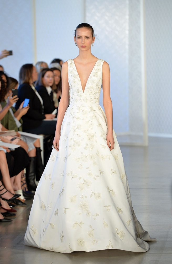 NEW YORK, NY - APRIL 15: Model walks the runway at Oscar De La Renta Bridal Spring/Summer 2017 Runway Show at Oscar de la Renta Boutique on April 15, 2016 in New York City. (Photo by Slaven Vlasic/Getty Images)