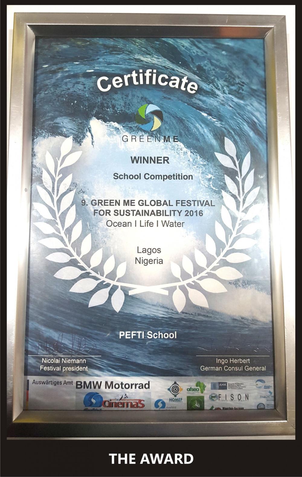 PEFTI Institute Wins 'Green Me' Film Award 2016 1