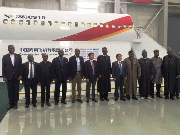 PMB and his delegation at the Commercial Aircraft Corporation of China. Photo Credit: twitter.com/geoffreyonyeama