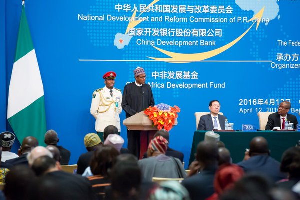 Pres Buhari speaking at the Official Opening Ceremony of the China-Nigeria Business Forum in Beijing