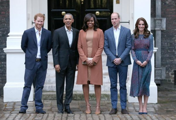 Prince William, Duke of Cambridge and Catherine, Duchess of Cambridge greet US President Barack Obama and First Lady Michelle Obama as they dine at Kensington Palace on April 22, 2016 in London, England.