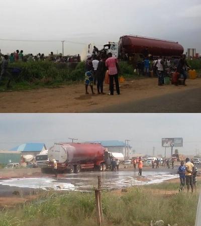 :Lagosians Scoop Fuel  from Fallen Petrol Tanker at Asese, along Lagos-Ibadan expressway.