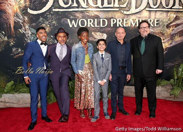 Actor Ritesh Rajan, actor Giancarlo Esposito, actress Lupita Nyong'o, actor Neel Sethi, actor Ben Kingsley and director/producer Jon Favreau