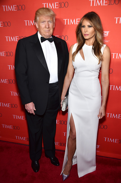 Donald Trump (L) and Melania Trump
