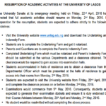 Unilag reopens