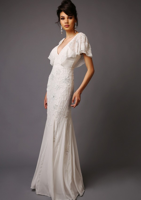 Beatrice Wedding Dress - Short sleeve boho style wedding dress Low V-Neck and Back