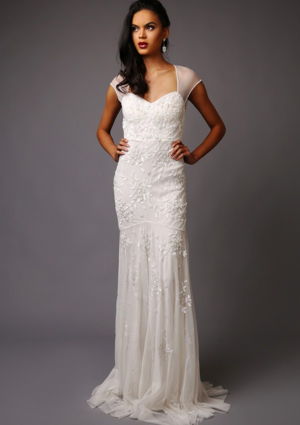Charlotte Wedding Dress - Trumpet style wedding dress Tulle sleeves and back