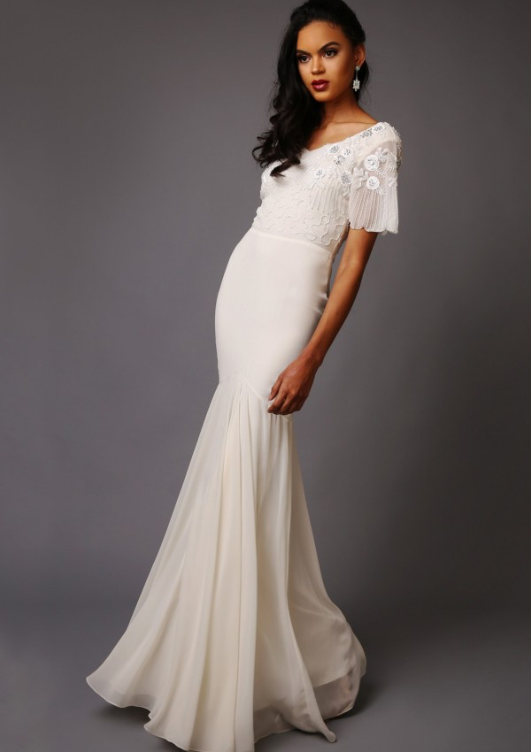 Cilla Wedding Dress -Trumpet style short sleeve wedding dress with low v-back